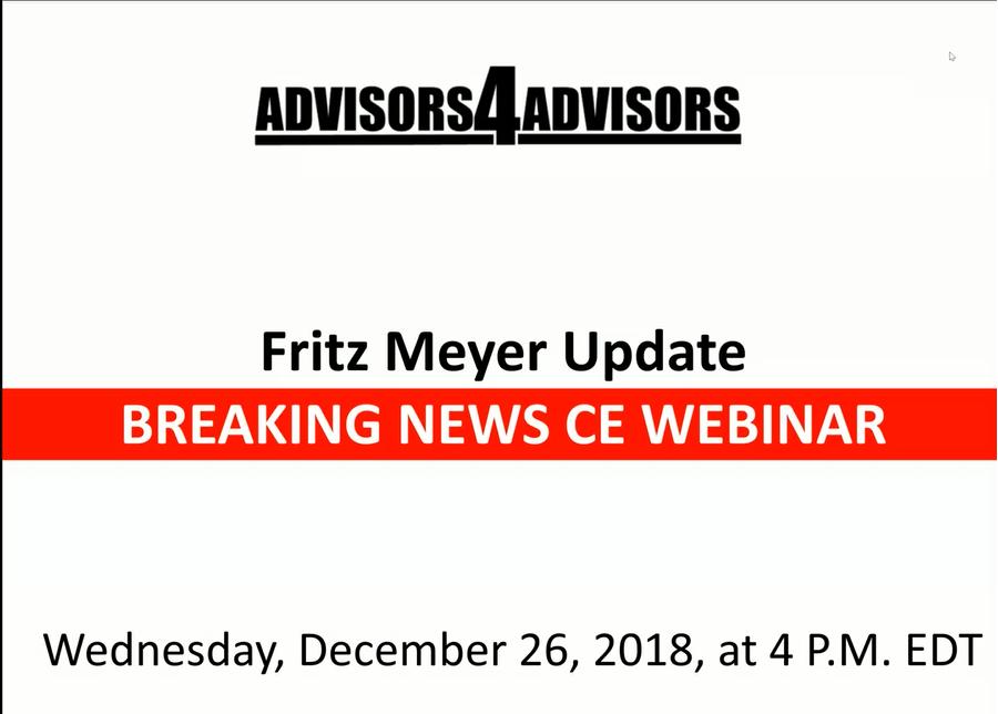 Fritz Meyer Breaking News CE Webinar: Bear Market 2018
