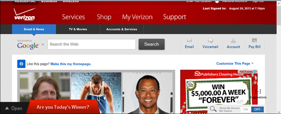 "Verizon Subscribers Home Page Screams: ""Are You Today's Winner,"" But"